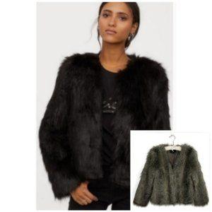 H&M Faux Fur Jacket Brown Gray Shag Size 6